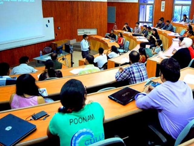 Students attending the class at the Indian Institute of Management Calcutta, in Kolkata, West Bengal.