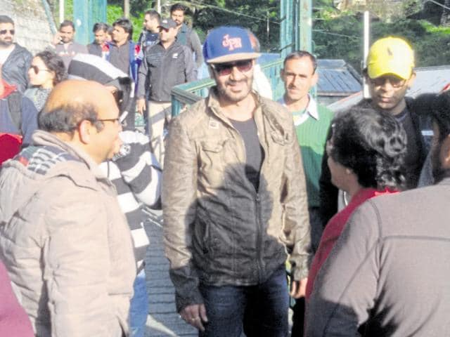 Bollywood actor Ajay Devgn shoots for his film Shivaay in Mussoorie.