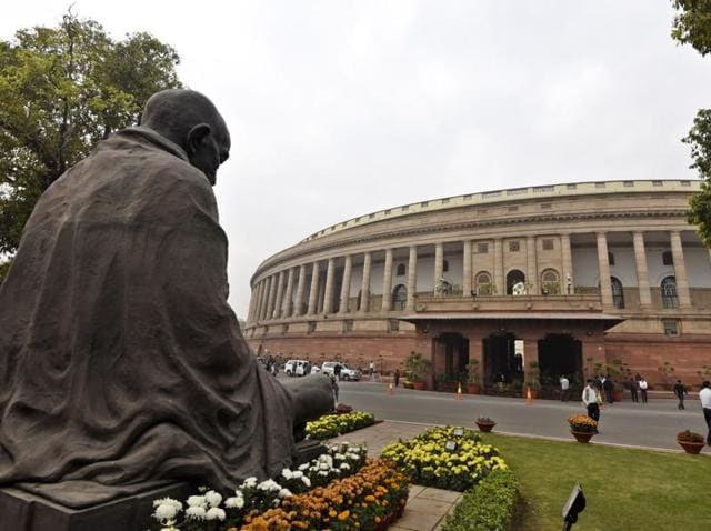 The Parliament House during winter session in New Delhi, India, on Wednesday, December 9, 2015.