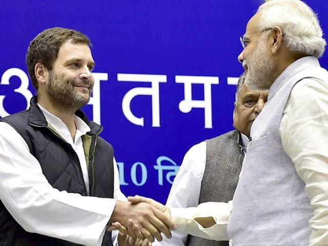 Congress vice president shaking hands with Prime Minister Modi at a function in New Delhi to felicitate NCP leader Sharad Pawar on his 75th birthday on Thursday, December 10, 2015.
