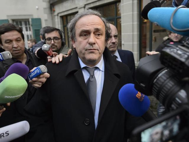 A file photo of UEFA President Michel Platini after a hearing at the international Court of Arbitration for Sport, CAS, in Lausanne, Switzerland.