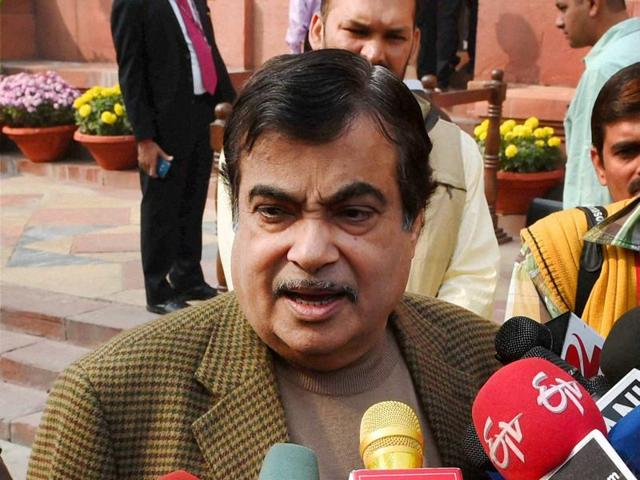 File photo of Union minister Nitin Gadkari as he arrives for the Winter Session of Parliament in New Delhi.