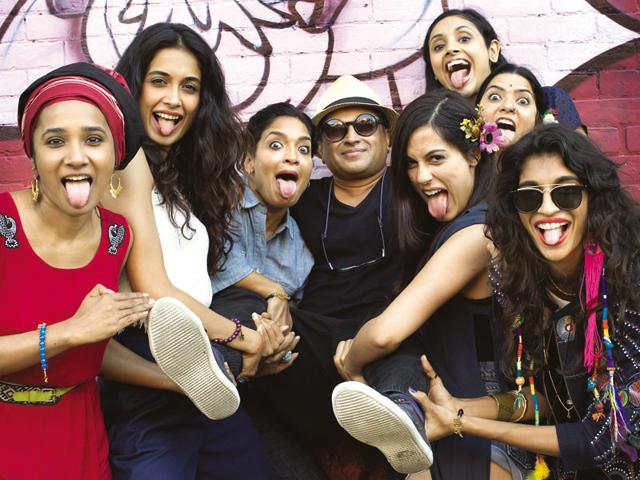 Sticking it out : Director Pan Nalin with the cast of Angry Indian Goddesses.