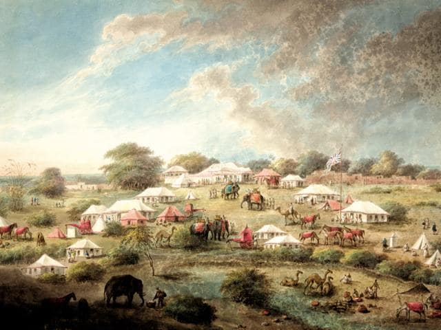 The camp of the Begum Samru at Nureela. The encampment shows tents rather like Lord Hastings's own, as well as several curtained raths suitable for female transportation. Presumably after this encounter Lady Hastings left for Delhi taking Sita Ram with her.