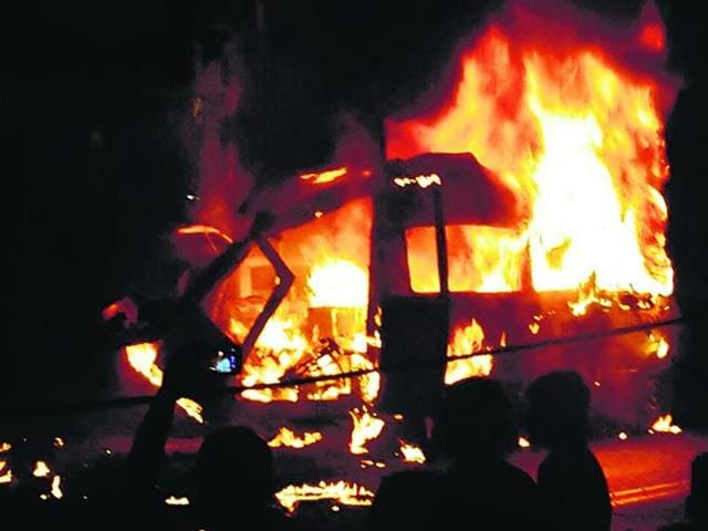 The oxygen cylinder inside the ambulance exploded, engulfing the vehicle in flames, with the infant still in it.