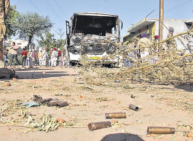 Shells of the cartridges used in police firing after accident in Chanu Villeage at Sri Muktsar Sahib.
