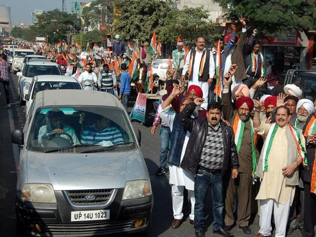 Local Congress leaders and workers protest against Punjab government at Bathinda on Saturday.