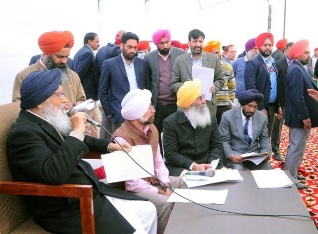 Punjab Chief Minister Parkash Singh Badal interact with people during Sangat Darshan at Village Munda in district Tarn Taran on Saturday.