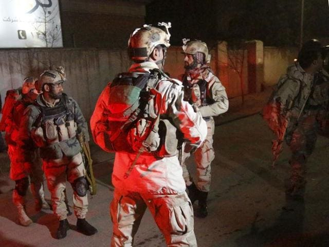 Members of Afghan Crisis Response Unit (CRU) arrive at the site of a Taliban attack in Kabul on Friday.