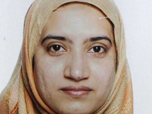 This image obtained from US Customs and Border Protection shows Tashfeen Malik with Syed Farook as they were going through customs in Chicago's O'Hare International Airport on the evening of July 27, 2014.(AFP)