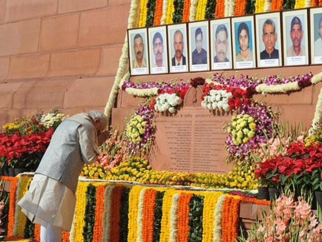 Prime Minister Narendra Modi paid tribute to the martyrs of the 2001 Parliment attack on Sunday.