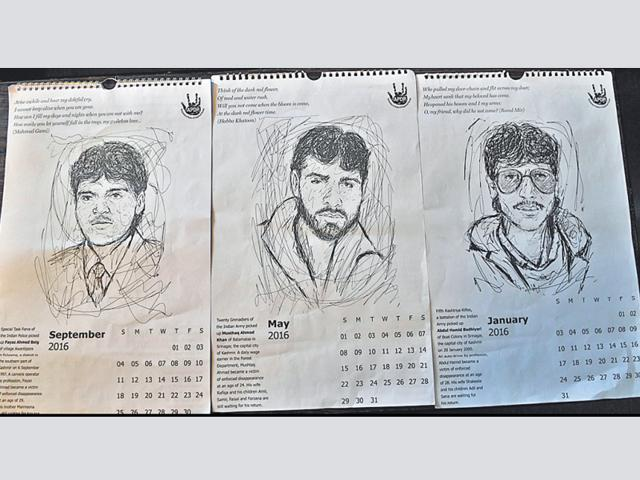 The unique calender dedicates each month to a Kashmiri who went missing over the last two decades.