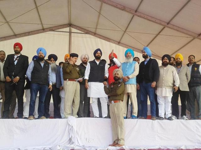 Punjab revenue minister Bikram Singh Majithia along with party leaders making arrangements at Sadbhawna rally venue at Goindwal Sahib on Sunday.