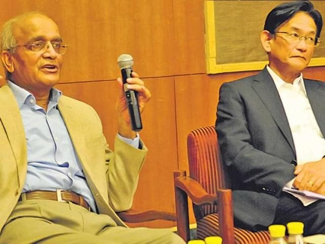 Maruti Suzuki chairman RC Bhargava (left) with the company's MD and CEO Kenichi Ayukawa in New Delhi on Sunday. The auto industry leaders are confused after the NGT recommended restrictions on the sales of diesel cars in the  Capital.