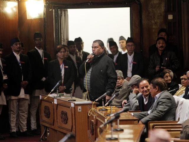 A file photo shows Upendra Yadav, a leading ethnic Madhesi protest leader, speaking in Parliament in Kathmandu. Madhesi parties have sought a package deal to address their demands.