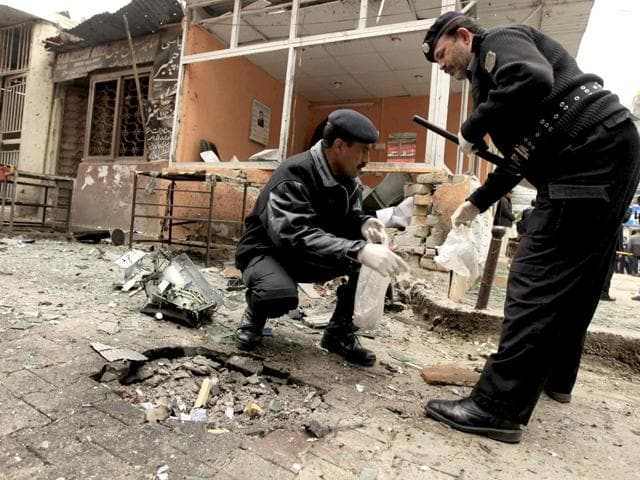 Three people were killed and two others sustained injuries in two separate bomb blasts in a restive tribal region near the Afghan border.