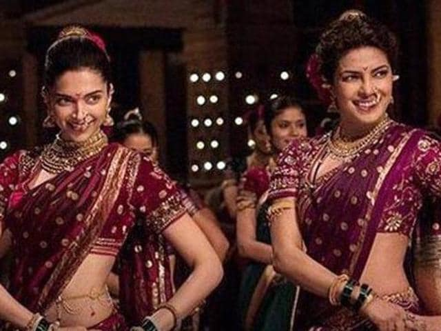 Deepika and Priyanka in a still from the song Pinga from their soon to be released film  Bajirao Mastani.