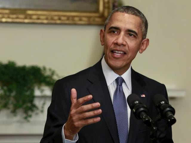 US President Barack Obama delivers a statement on the climate agreement at the White House in Washington.