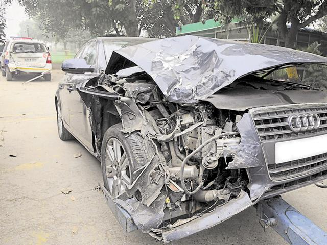 Mangled remains of the Audi and a PCR van that were involved on Friday night's accident on Rajpath.