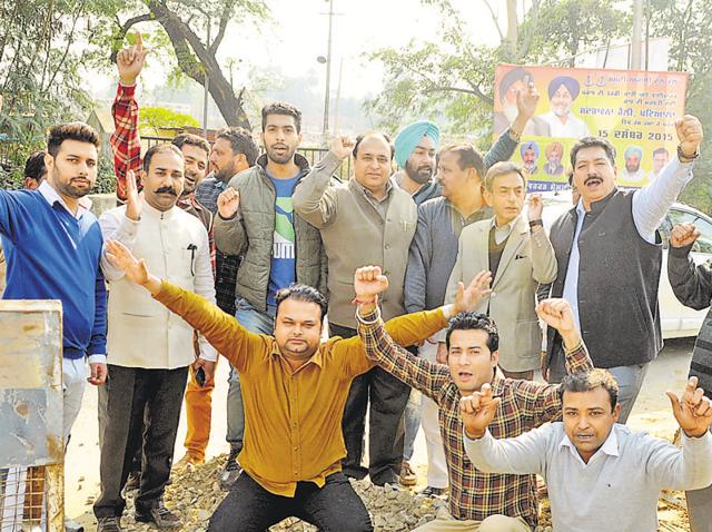 The Patiala Congress staged a protest against the state government for reportedly violating the norms to make its rally a success.