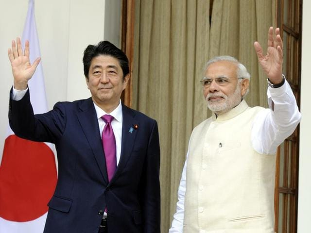 Prime minister Narendra Modi and Japanese Prime Minister Shinzo Abe signing the documents of agreements at Hyderabad House in New Delhi on Saturday. They reaffirmed their commitment to continue discussions to deepen the bilateral defence relationship including through two-way collaboration and technology cooperation, co-development and co-production.
