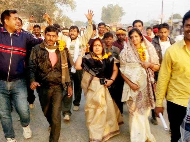 Poonam Yadav, an MBA, won by 592 votes on Sunday. Wife of a lawyer in Supreme Court, Poonam had contested election for pradhan post from a seat reserved for women.