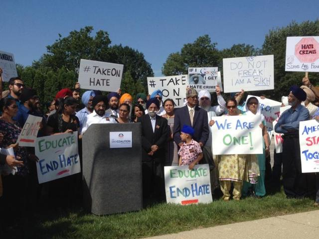 Inderjit Singh Mukker among others during a news conference against hate crimes which have been on the rise since 9/11 incident.