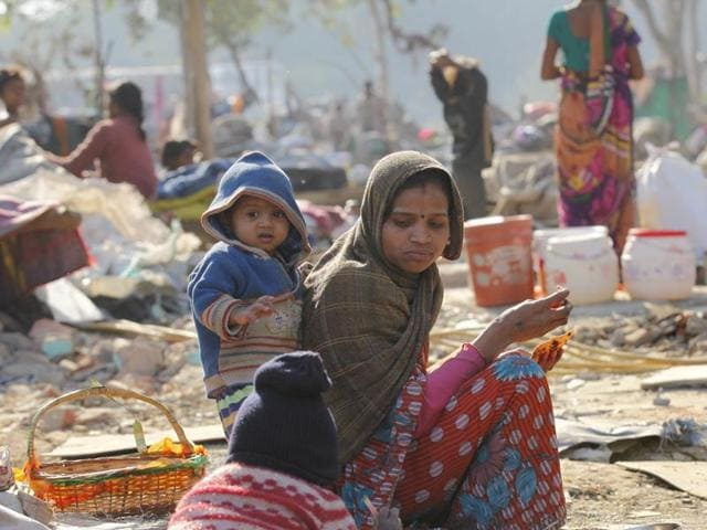 Around 500 shanties were demolished by Indian Railways at Shakur Basti in west Delhi on Saturday, leaving hundreds homeless in the winter chill.