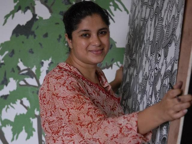 File photo of artist Hema Upadhyay at her studio in Mumbai. Police have arrested two suspects in connection with the double murder of Upadhyay and her lawyer Haresh Bhambani.