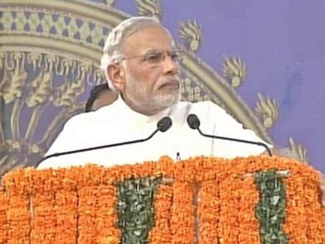 PM Narendra Modi addressing a rally in Kerala's Trissur on Monday.