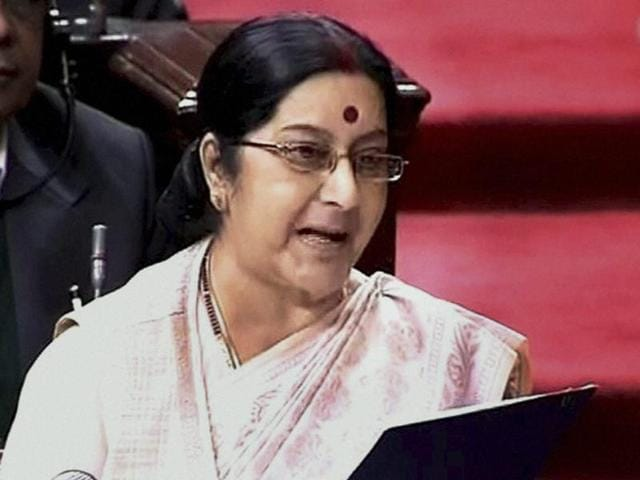 External Affairs Minister Sushma Swaraj speaks in the Rajya Sabha during winter session of Parliament in New Delhi on Monday.