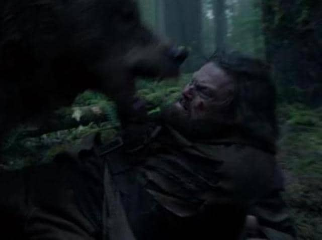 DiCaprio gets attacked by a bear.