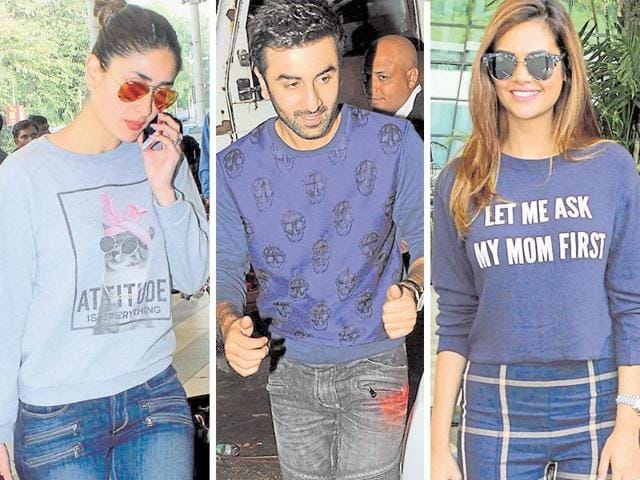 Cousins Kareena and Ranbir Kapoor and also actor Isha Gupta were seen in casually chic sweats.