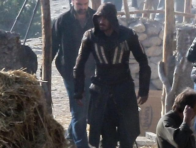 Michael Fassbender as Aguilar on the sets of Assassin's Creed.