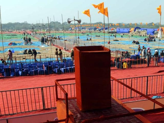 Preparations underway for the Sadbhavna Rally at Aviation club in Patiala on Monday.