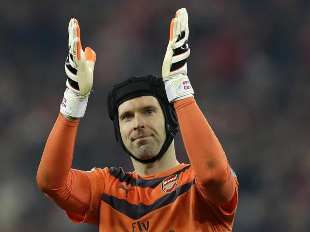 Arsenal's Petr Cech watches the ball during the English Premier League match between Aston Villa and Arsenal at Villa Park on December 13, 2015.