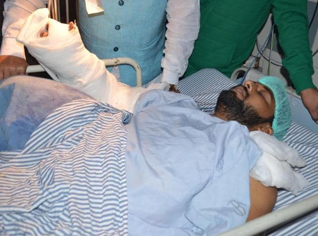 Injured Gurjant Singh, whose limbs were lopped off in a brutal incident in Abohar admitted at a hospital in Amritsar on Tuesday.
