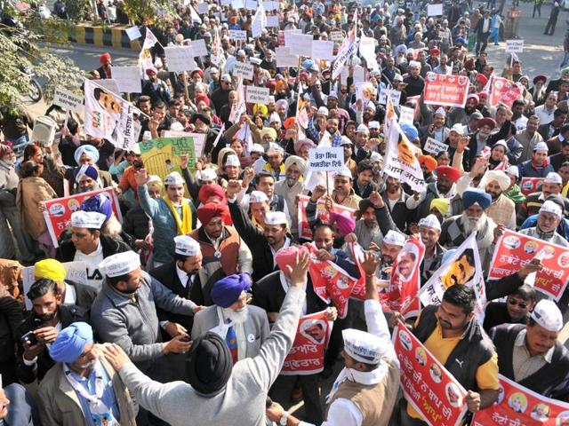 Aam Adami Party workers protesting against state government in Jalandhar, India on Tuesday, December 15, 2015.