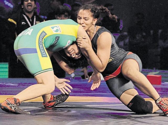 Player in action during the Pro Wrestling league at Guru Nanak Dev Stadium in Ludhiana on Monday, December 14, 2015.