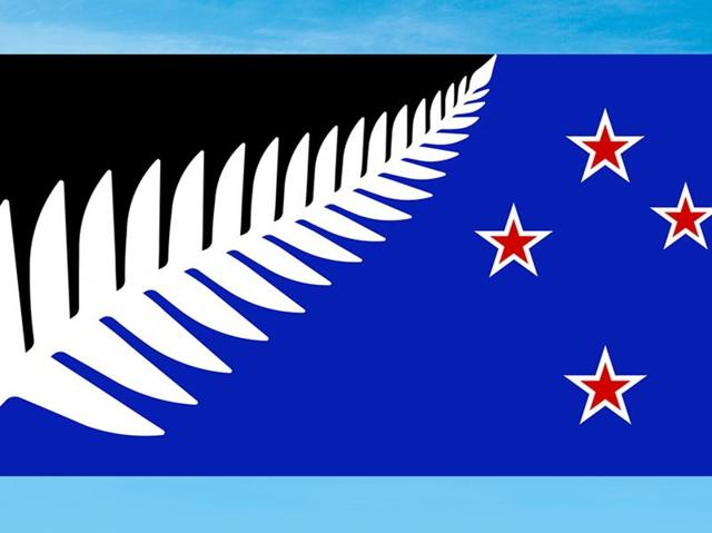 This undated illustration provided by the New Zealand government shows a flag design by Kyle Lockwood. Final results from a postal ballot were announced to decide the  winning design which features a silver fern and red stars on a black and blue background.