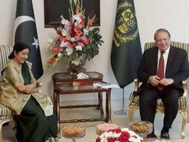 External Affairs Minister Sushma Swaraj with Pakistan Prime Minister Nawaz Sharif during a meeting in Islamabad.
