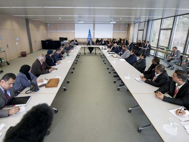 This handout picture realeased by UN Photo shows a general view of the room at the opening of Yemen peace talks in Magglingen, northen Switzerland.