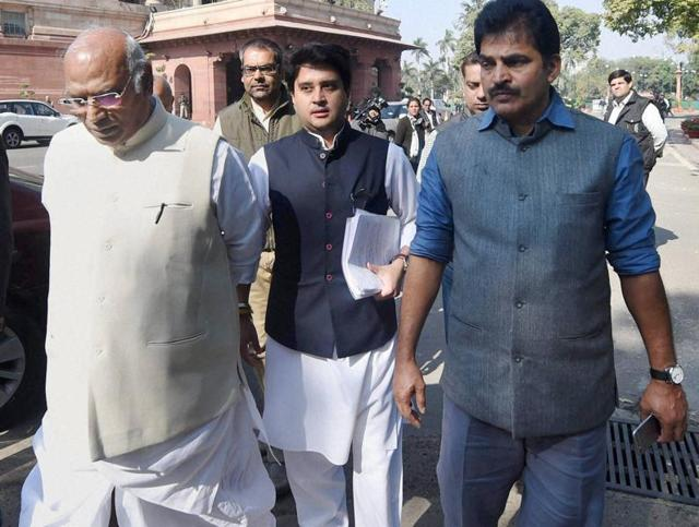 Congress leaders Mallikarjun Kharge, Jyotiraditya Scindia and KC Venugopal at Parliament during the winter session. The Congress wants to buy time before resuming negotiations on the GST bill as it plans to keep a close watch on a number of developments.