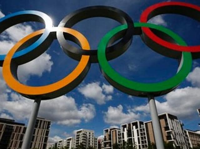 A file photo of the Olympic rings in Rio De Janeiro.