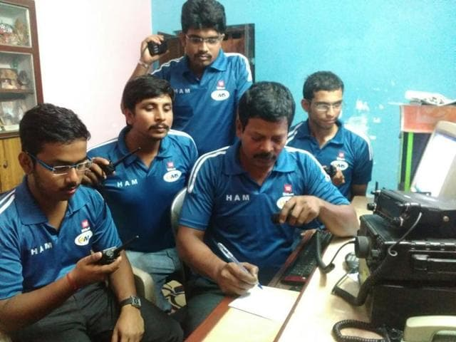 Bengal HAM radio operators led by Ambarish Nag Biswas working at his home in Sodepur, on the outskirts of Kolkata.(HT photo)