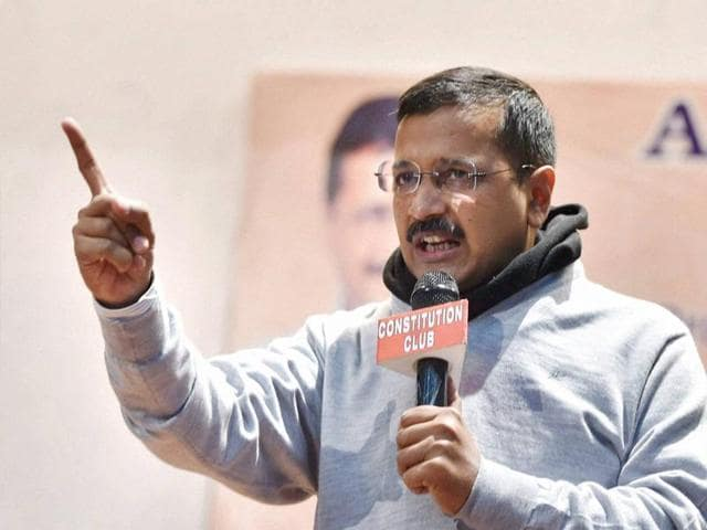 Delhi Chief Minister Arvind Kejriwal addresses during the AAP trade wing's business summit