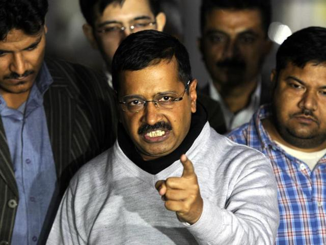 Delhi Chief Minister Arvind Kejriwal talking with media person at outside deputy chief Minister Manish Sisodia resident in New Delhi, India on Tuesday.