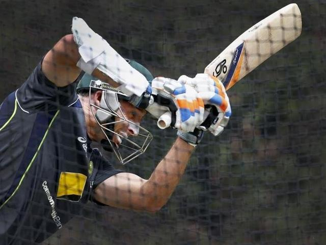 A file photo of Australia's Mike Hussey batting in the nets during a cricket practice session at the Sydney Cricket Ground.