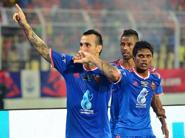 FC Goa player Rafael Coelho Luiz celebrates after scoring during the second leg of the semi-final match between Delhi Dynamos and FC Goa of Indian Super League (ISL) in Margao on December 15, 2015.