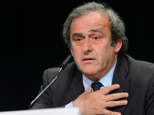 A file photo taken on May 28, 2015 shows UEFA President Michel Platini delivering a press conference prior to the 65th FIFA Congress in Zurich.